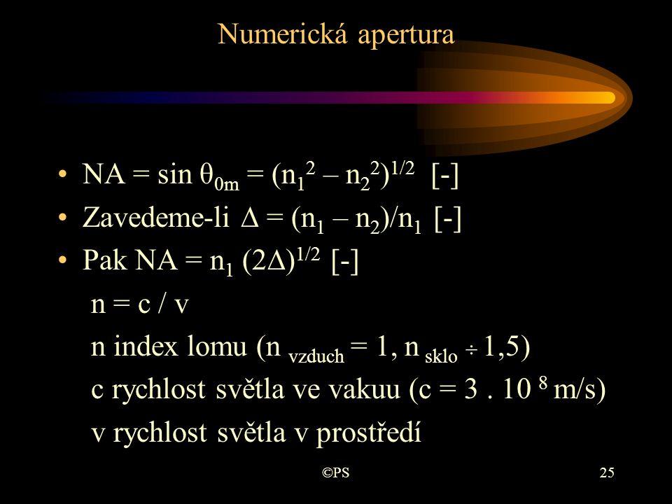 Zavedeme-li ∆ = (n1 – n2)/n1 [-] Pak NA = n1 (2∆)1/2 [-] n = c / v